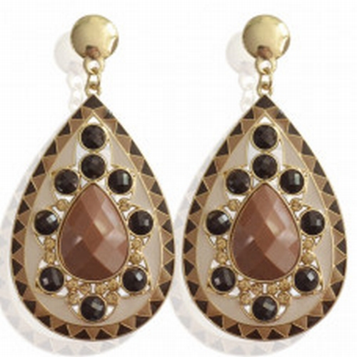 Earrings Dull -brown-