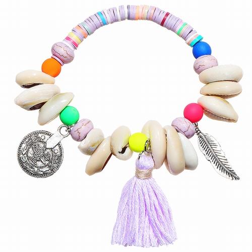 Armband Ibiza fluor rose/oranje