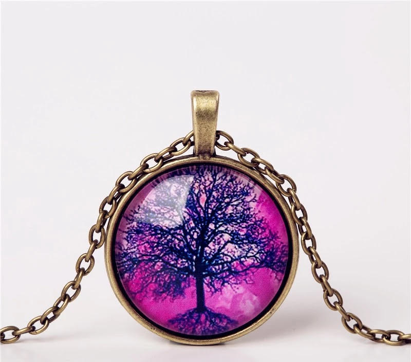 Cabochon hanger met ketting levensboom paars