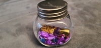 Geluksflesje met goud en steentjes paars