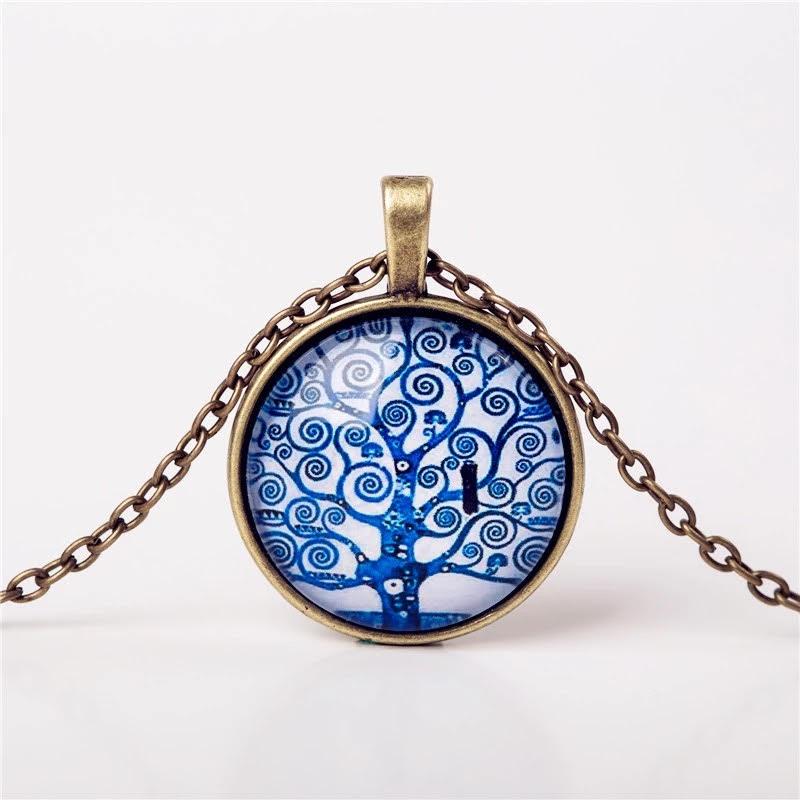 Cabochon hanger met ketting levensboom blauw bron
